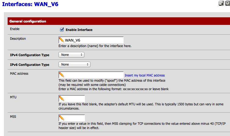 Paramètrage de l'interface WAN v6 (gif)