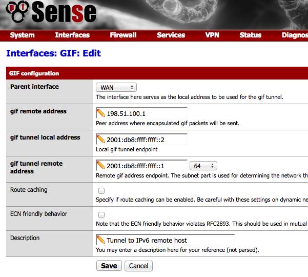 Création d'une interface de tunnel gif avec pfSense